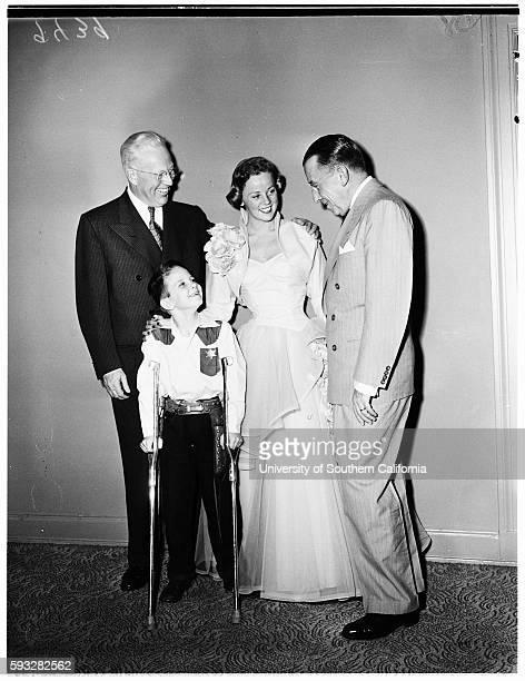 March of dimes Governor Earl Warren Larry Jim Gross Nina Warren Basil O'Connor December 31 1951