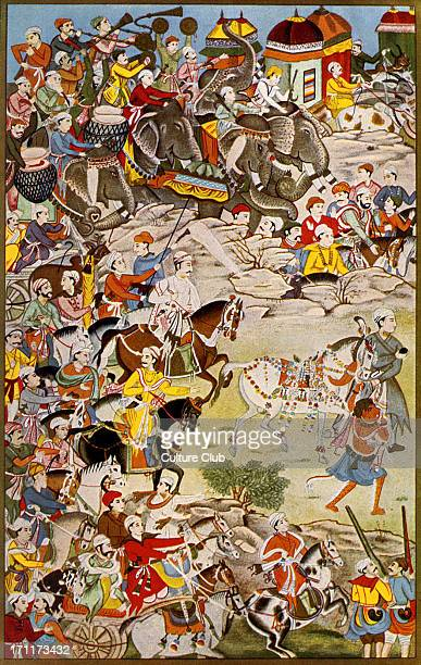 March of the grand Mughal Akbar the Great third Mughal emperor of India 15 October 1542 27 October 1605 After a miniature painting accompanying the...