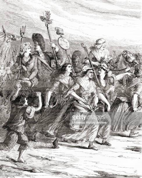 March of the poissardes or market women to Versailles on 5th October 1789 during the French Revolution to demand bread and justice From Cassell's...