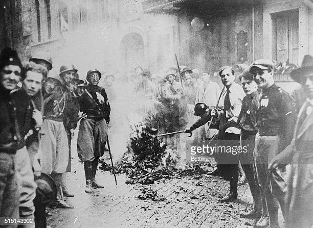 March On Rome Fascist troops burn Socialist literature following entry into Rome