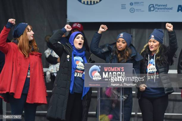 March Organizers Bob Bland Tamika D Mallory Linda Sarsour and Carmen PerezJordan speak on stage during the Women's March on January 19 2019 in...