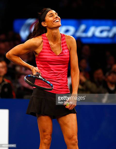 Gabriela Sabatini of Argentina in action against Monica Seles of the United States during the BNP Paribas Showdown at Madison Square Garden on March...
