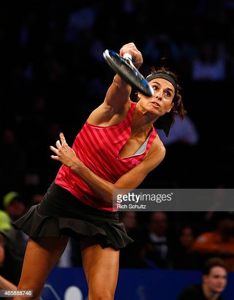 Gabriela Sabatini of Argentina serves to Monica Seles of the United States during the BNP Paribas Showdown at Madison Square Garden on March 10 2015...