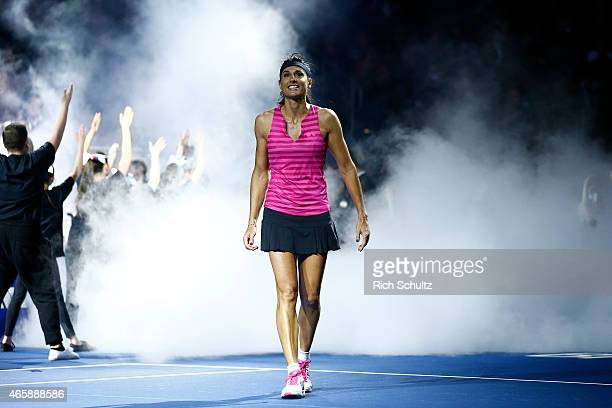 Gabriela Sabatini of Argentina takes the court before her match against Monica Seles of the United States during the BNP Paribas Showdown at Madison...