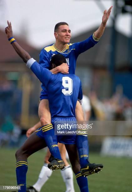 March1988 English Football League Division One - Wimbledon v Luton Town, Vinnie Jones celebrates his goal with Wimbledon colleague John Fashanu.