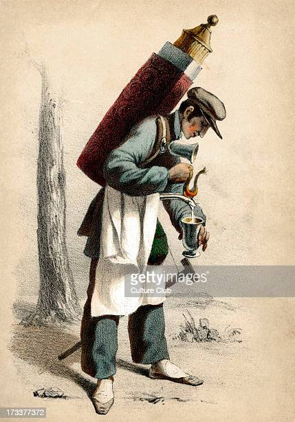 19th century French person who would move around on foot selling hot chocolate from a portable container From series 'Paris au XIX Siècle' c185556