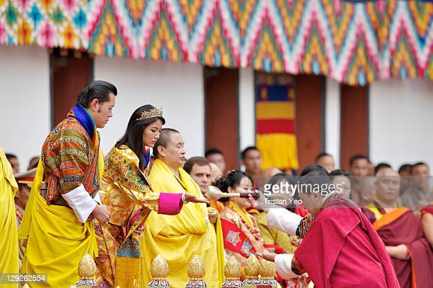 Marchang is offered by Gyalpoi Zimpoen to His Majesty King Jigme Khesar Namgyel Wangchuck and Her Majesty Queen Ashi Jetsun Pema Wangchuck at the...