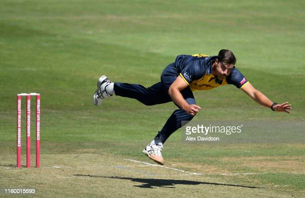 Marchant de Lange of Glamorgan bowls during a T20 Friendly match between Glamorgan and Netherlands at Sophia Gardens on July 04, 2019 in Cardiff,...