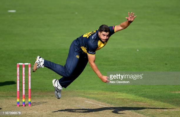 Marchant de Lange of Glamorgan bowls during the Vitality Blast match between Glamorgan and Surrey at Sophia Gardens on August 11, 2019 in Cardiff,...