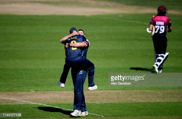 Marchant de Lange of Glamorgan celebrates the wicket of Azhar Ali of Somerset with Graham Wagg of Glamorgan during the Royal London One Day Cup match...