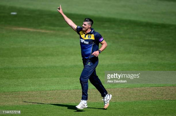 Marchant de Lange of Glamorgan celebrates the wicket of Tom Banton of Somerset during the Royal London One Day Cup match between Glamorgan and...