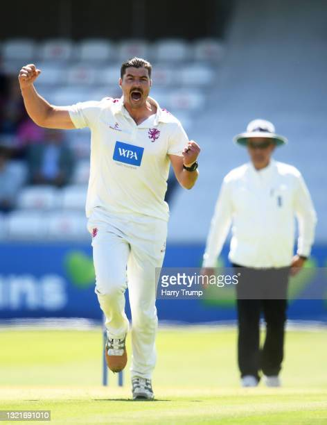 Marchant De Lange of Somerset celebrates after taking the wicket of Tom Alsop of Hampshire during Day Two of the LV= Insurance County Championship...