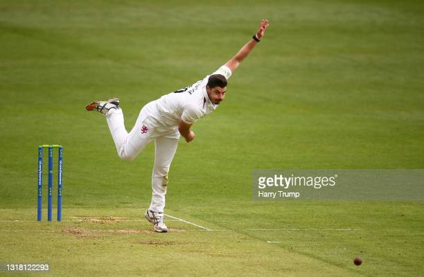 Marchant De Lange of Somerset in bowling action during Day Three of the LV= Insurance County Championship match between Somerset and Surrey at The...