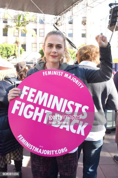 Marcher at 2018 Women's March Los Angeles at Pershing Square on January 20 2018 in Los Angeles California