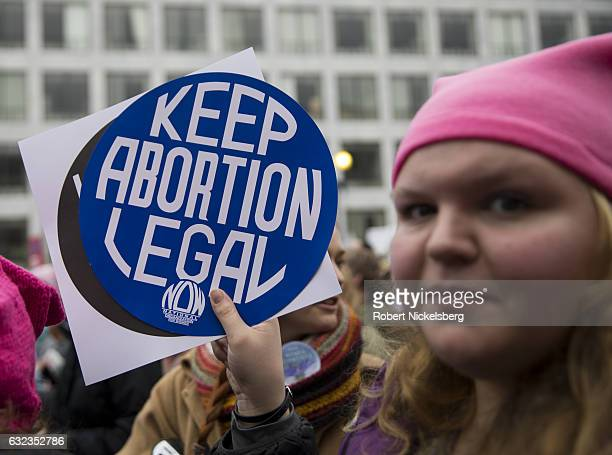 A marcher attending the Women's March on Washington holds up a proabortion sign on January 21 2017 in Washington DC President Donald J Trump was...