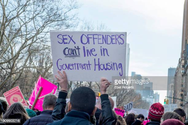 'Sex offenders can't live in government housing' at the 2018 Women's March in New York City on January 20 2018
