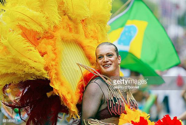 A marcher is seen during the rally for Gay Pride on July 2 2005 in London More than 40 floats along with bands drummers and thousands of marchers and...