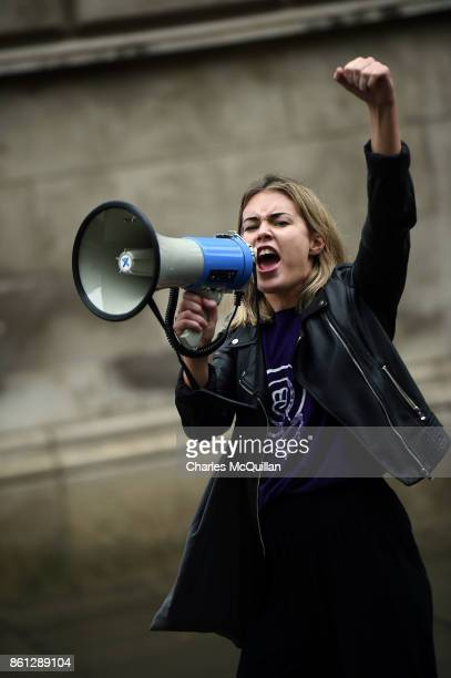 A marcher shouts in to a megaphone as protestors take part in the Rally for Choice march on October 14 2017 in Belfast Northern Ireland The pro...