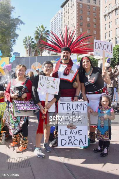 Marchers at the 2018 Women's March Los Angeles at Pershing Square on January 20 2018 in Los Angeles California