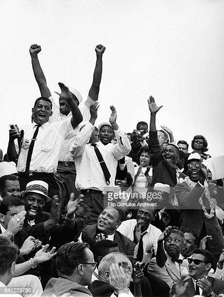 Marchers cheer after civil rights leader Martin Luther King Jr's famous 'I Have a Dream' speech at the conclusion of the March on Washington on...