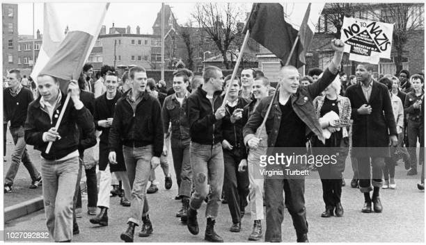 Marchers dressed in skinhead fashions take part in an antiNational Front protest in West Bromwich on 28th April 1979