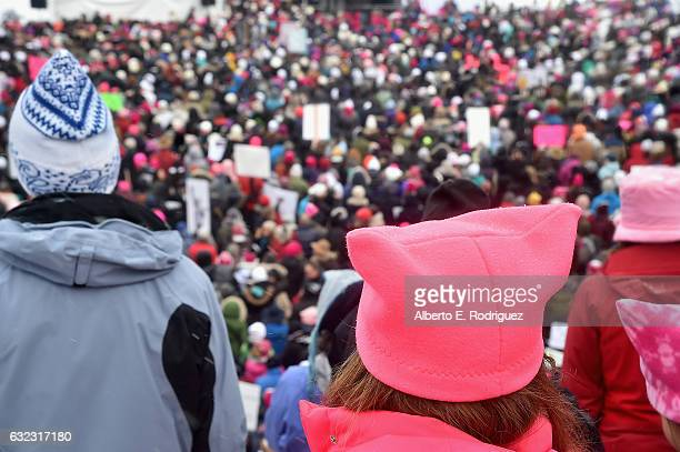Marchers during the Women's March on Main Street Park City on January 21 2017 in Park City Utah