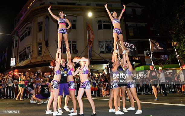 Marchers entertain the crowds in Sydney's annual Mardi Gras gay pride parade an event which bills itself as the world's biggest night parade on March...
