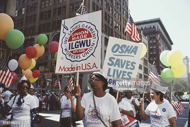Marchers from the International Ladies' Garment Workers' Union in a Labor Day parade in New York City September 1982