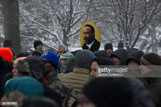 Marchers gather at City Park in Denver Colorado at the beginning of Denver's Martin Luther King Jr parade on January 2017 Denver's Martin Luther King...