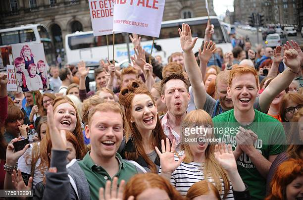 Marchers gather at the Ginger Pride Walk on August 10, 2013 in Edinburgh, Scotland. While Glasgow held its annual Gay Pride parade on Saturday,...