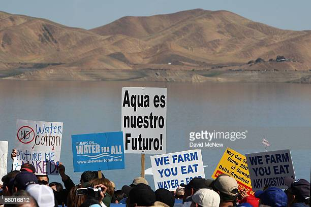 Marchers gather near San Luis Reservoir which has a low water level for a rally attended by California Gov Arnold Schwarzenegger at the last stop of...