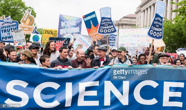 Marchers including Bill Nye the Science Guy center lead the Science March down Constitution Avenue in Washington on Earth Day Saturday April 22 2017...