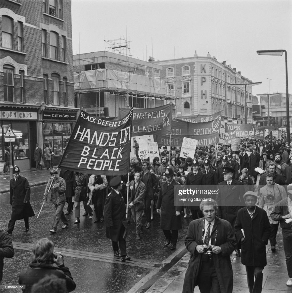 Notting Hill Ladbroke Grove marchers join a demonstration in ladbroke grove to protest