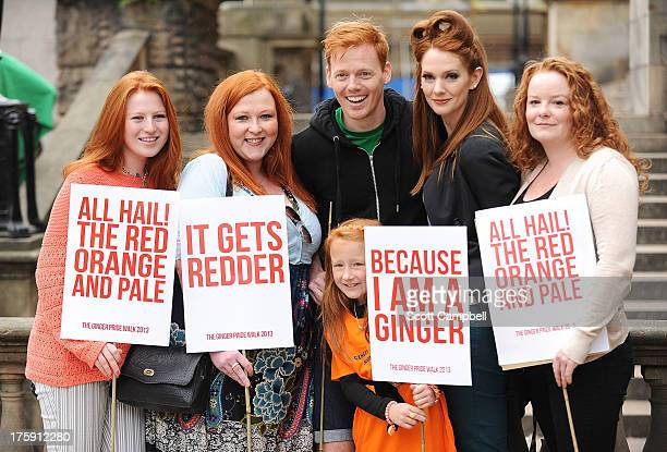 Marchers Katie Polson Diane Spencer Heather Hughes and Mhairi Dalglish are pictured with Shawn Hitchins at the Ginger Pride Walk on August 10 2013 in...