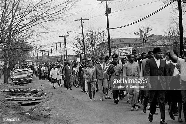 Marchers leave the grounds of the City of St Jude school on their way to the state capital building during the Selma to Montgomery Civil Rights march...