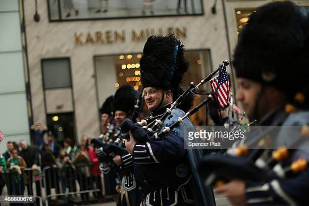 Marchers make their way up 5th Avenue during New York City's St Patrick's Day Parade on March 17 2015 in New York City Despite a policy shift that...