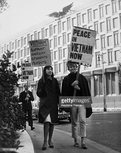 Marchers Outside The American Embassy For Peace In Vietnam In London On October 16Th 1965