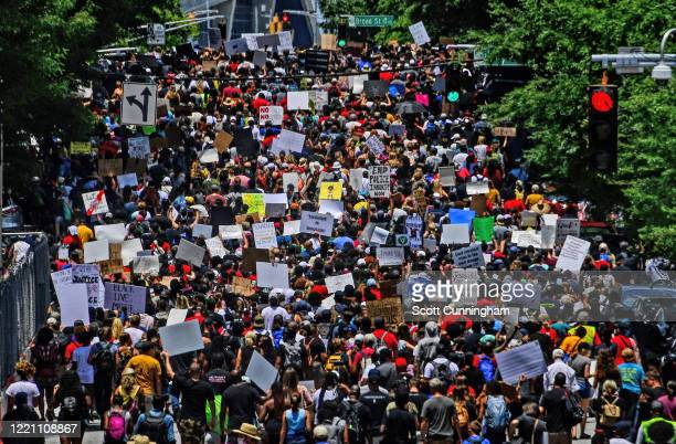 Marchers peacefully leave the State Capital area as Juneteenth is celebrated on June 19 2020 in Atlanta Georgia Fresh protests rose up after an...