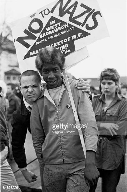 Marchers take part in an anti National Front protest in West Bromwich on 28th April 1979