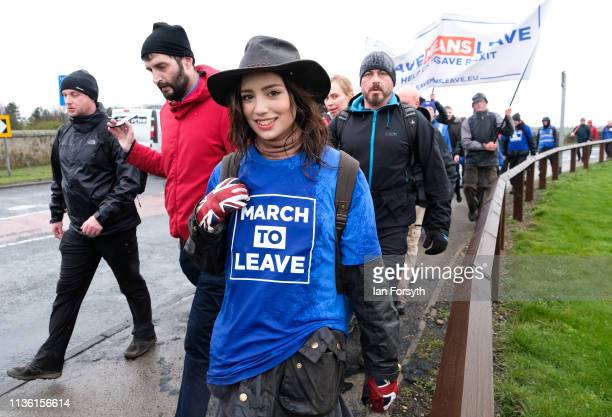 Marchers take part in the first leg of the March to Leave demonstration on March 16 2019 in Sunderland England The first leg between Sunderland and...