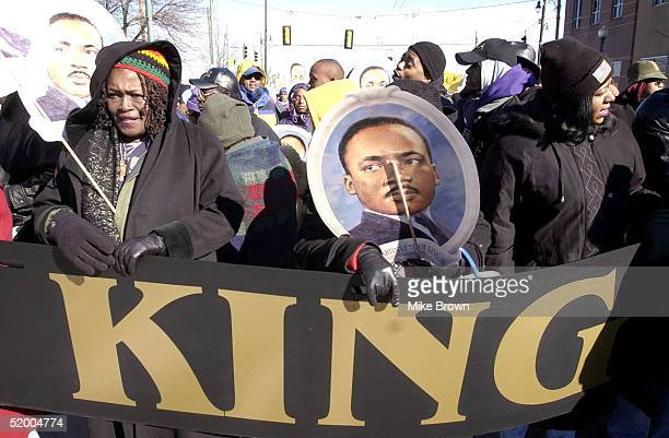 Marchers wait to begin a parade honoring the legacy of Dr Martin Luther King Jr on January 17 2005 in Memphis Tenessee Hundreds gathered and walked...