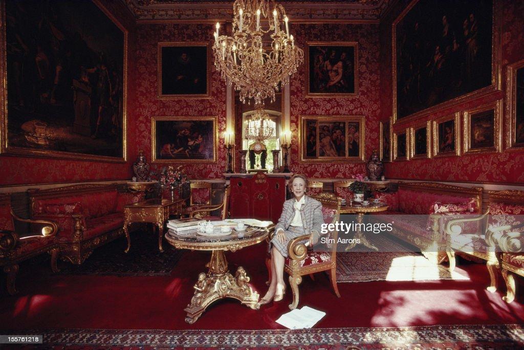 Marchesa Carlotta Caitaneo Adorno Giustiniani sitting in the opulence of the Villa Durazzo-Pallavicini in Genoa, Italy, 1987.