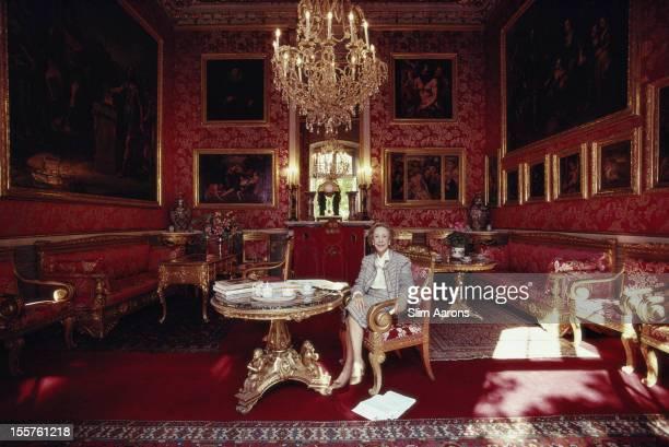 Marchesa Carlotta Caitaneo Adorno Giustiniani sitting in the opulence of the Villa DurazzoPallavicini in Genoa Italy 1987