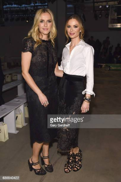 Marchesa cofounders Keren Craig and Georgina Chapman pose on the runway at the Marchesa fashion show during February 2017 New York Fashion Week at...