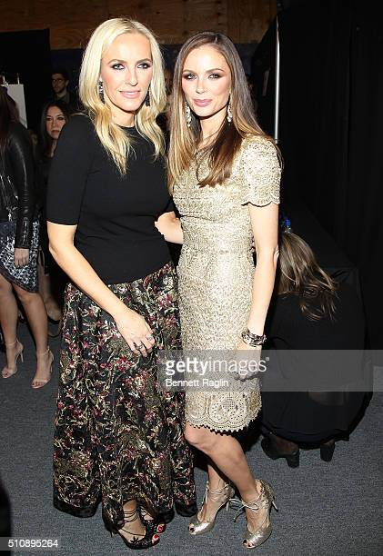Marchesa designers Keren Craig and Georgina Chapman pose for a picture backstage at the Marchesa Fall 2016 New York Fashion Week on February 17 2016...