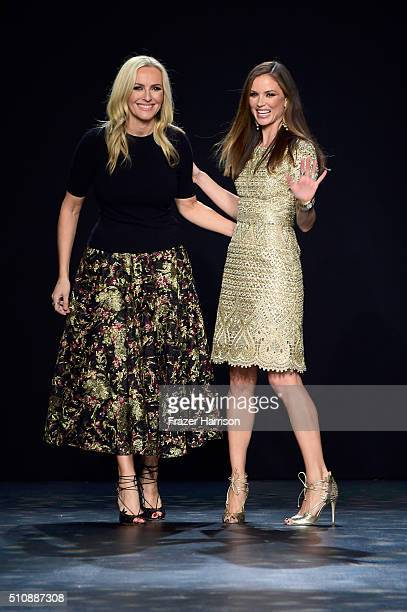 Marchesa designers Keren Craig and Georgina Chapman walk the runway wearing Marchesa Fall 2016 during New York Fashion Week The Shows at The Dock...