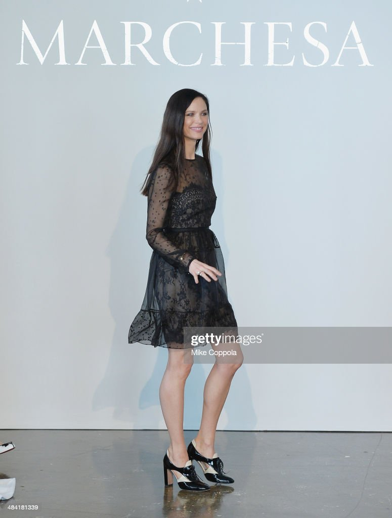 Marchesa Fashion designer/actress Georgina Chapman attends the Marchesa Spring 2015 Bridal collection show at Canoe Studios on April 11, 2014 in New York City.