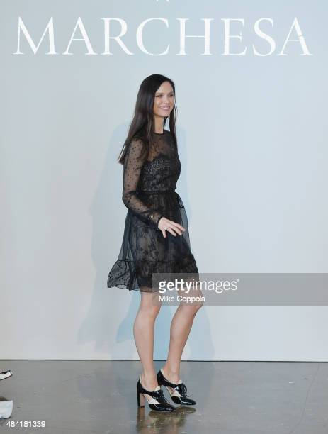 Marchesa Fashion designer/actress Georgina Chapman attends the Marchesa Spring 2015 Bridal collection show at Canoe Studios on April 11 2014 in New...