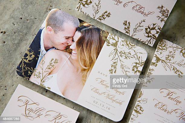 Marchesa gown inspired 'Artful Floral' bridal stationery on display as Wedding Paper Divas with Marchesa unveil their new bridal stationery...