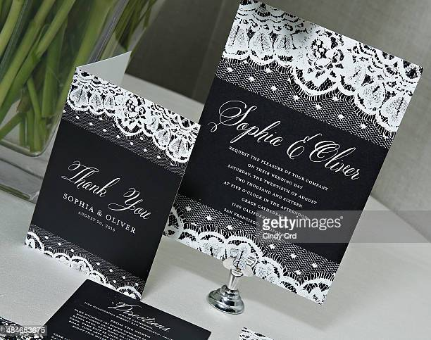 Marchesa gown inspired 'Lithe Lace' bridal stationery on display as Wedding Paper Divas with Marchesa unveil their new bridal stationery collection...